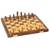 Desi Karigar Folding Chess Board Set Wooden Game Handmade Classic Game Of Brilliance Small Chess Pieces 10 Inches (non - Magnetic)