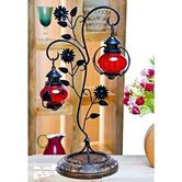 Desi Karigar Attractive Glass With Metal Red Colored Leaf Design Candle Stand (11\