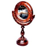 Desi Karigar Antique Fancy Design Handicraft Brown Wooden Mirror Stand