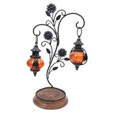 Desi Karigar Double Lantern Hanging Candle Holder With Stand Size (lxbxh-15 X 25 X 45) Cm Color-orange