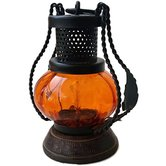 Desi Karigar Wooden & Iron Hand Carved Colored Chimney Lantern Design Orange