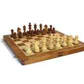 Desi Karigar Wooden Handmade Standard Classic Chess Board Game Small Chess Pieces Foldable Size 14 Inches (non-magnetic)