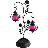 Desi Karigar  Double Lantern Hanging Candle Holder With Stand Size 22 Inch Color Pink