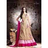 Ruchi Trrends Party Wear Skirt Upto Xxl Along With Unstitched Cream Embroidered Kurti And Chiffon Dupatta