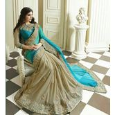 Beautiful Blue And Beige Embroidery Lace Work Saree
