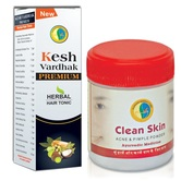 100% Result In 3 Days Ayurvedic Herbal Clean Skin Powder For Pimple Problem(fairness)and Keshvardhak Hairgrow Tonic Combo Offer