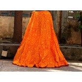 Orange Base Colored Warli Printed With Cotton Border Big Flare Full Length Skirt