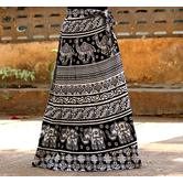 Black And White Color Base Elephant Printed In Rajasthani Pattern Wrap Around Skirt