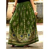 Olive Greenhand Embroidered Foil Mirror Work Cotton Blend Long Skirt