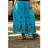 Sky Blue Hand Embroidered Foil Mirror Work Cotton Blend Long Skirt