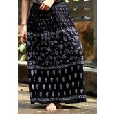 Black Base White Printed Cotton Blend Long Skirt