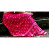Pink Base White Printed Cotton Blend Long Skirt