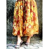 Brown Base  Flower Printed Georgette Umbrella Cut Skirt