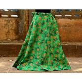 Green Color Base Colored Printed With Border Big Flare Full Length Skirt
