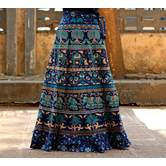 Navy Blue Color Base Camel And Elephant Printed In Rajasthani Pattern Wrap Around Skirt