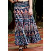 Blue Base Red & Yellow Elephant Printed In Rajasthani Pattern Wrap Around Skirt