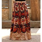 Cream Color Base Elephant Printed In Rajasthani Pattern Wrap Around Skirt