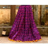 Purple Base Colored Warli Printed With Cotton Border Big Flare Full Length Skirt