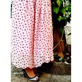 Pink Base Black Star Printed Chiffon Umbrella Cut Skirt