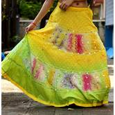 Multicolored Foil Mirror Worked Cotton Hand Bandhni Done Long Flared Skirt Pattern 2