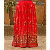 Red Colored Hand Embroidered Foil Mirror Work Cotton Blend Long Skirt