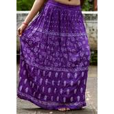 Violet Base White Printed Cotton Blend Long Skirt
