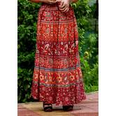 Red & Brown Rajasthani Printed Long Flared Skirt