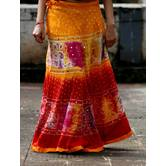 Multicolored Foil Mirror Worked Cotton Hand Bandhni Done Long Flared Skirt Pattern 1