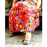 Red Base  Flower Printed Georgette Umbrella Cut Skirt