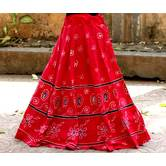 Red Base Colored  Printed Flower Pattern With Cotton Border Big Flare Full Length Skirt Pattern 1