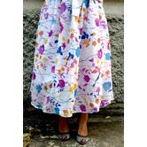 White Base Blue & Yellow Flower Printed Georgette Umbrella Cut Skirt