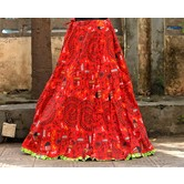 Red Base Colored Warli Printed With Cotton Border Big Flare Full Length Skirt
