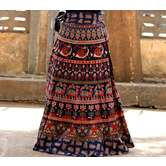Blue Color Base Camel Printed In Rajasthani Pattern Wrap Around Skirt
