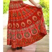 Red Color  Rajasthani Printed Long Flared Skirt