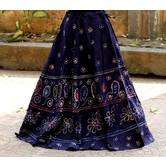 Dark Blue Color Base Colored  Printed With Cotton Border Big Flare Full Length Skirt