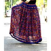 Blue Color Kutch Embroidered With Foil Mirror Work Long Flared Skirt