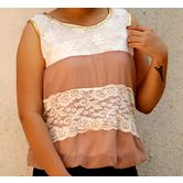 Light Brown & White Lace Worked Sleeveless Top