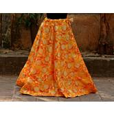 Yellow Color Base Colored Printed With Border Big Flare Full Length Skirt
