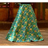 Sky Blue Color Base Colored Printed With Border Big Flare Full Length Skirt