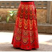 Red Color Base Flower Printed In Rajasthani Pattern Wrap Around Skirt