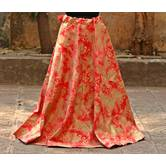 Orange Color Base Colored Printed With Border Big Flare Full Length Skirt
