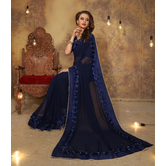 Craftsvilla Blue Color Georgette Designer Saree