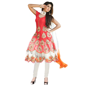 Fashions World Peach Georgette Embroidered Anarkali