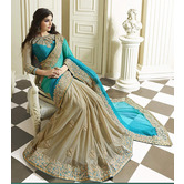 Craftsvilla.com Hancy Present Good Looking Skyblue And Gainsboro Color Half-half Saree With Designer Lace And Blouse