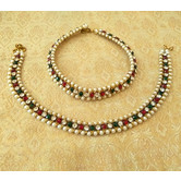 Lalso Amazing Multi Color Antique Gold Payal Anklet 1 Pair (2 Pcs) - Lla01_mg