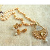 Lalso Amazing White Golden Kundan Pearl Delicate Long Rani Haar Pendant Necklace Set - Llps01_mt