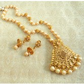 Lalso Lct Golden Kundan Pearl Delicate Long Rani Haar Pendant Necklace Set - Llps02_lct