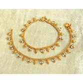 Lalso Amazing Copper White Antique Adjustable Payal Anklet 1 Pair (2 Pcs) - Lca01_wt