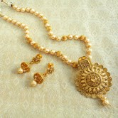 Lalso Lct Golden Kundan Pearl Delicate Long Rani Haar Pendant Necklace Set - Llps03_lct