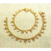 Lalso Amazing Copper White Antique Adjustable Payal Anklet 1 Pair (2 Pcs) - Lca02_wt